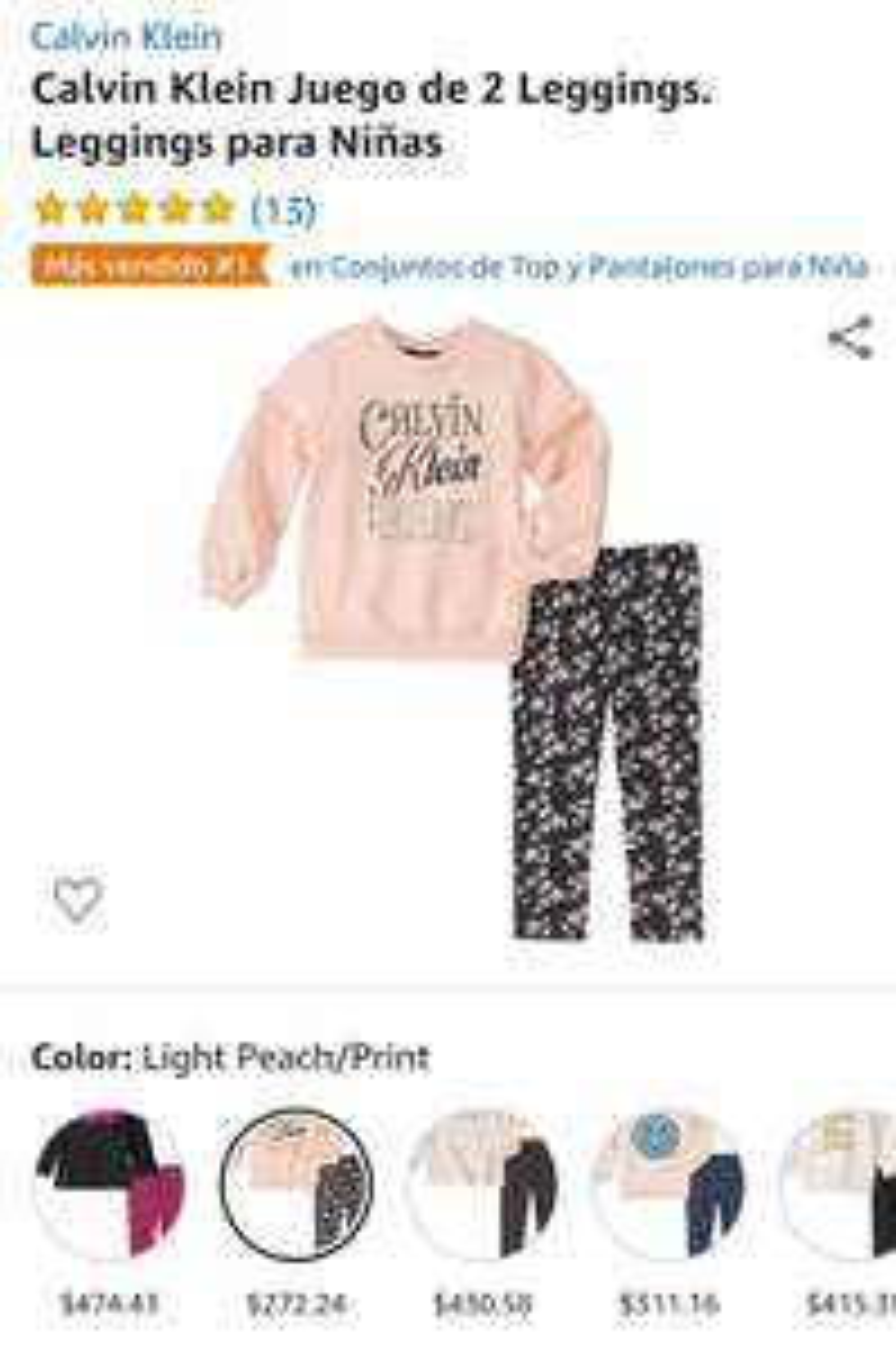 Amazon: Calvin Klein Juego de 2 Leggings. Leggings para Niñas