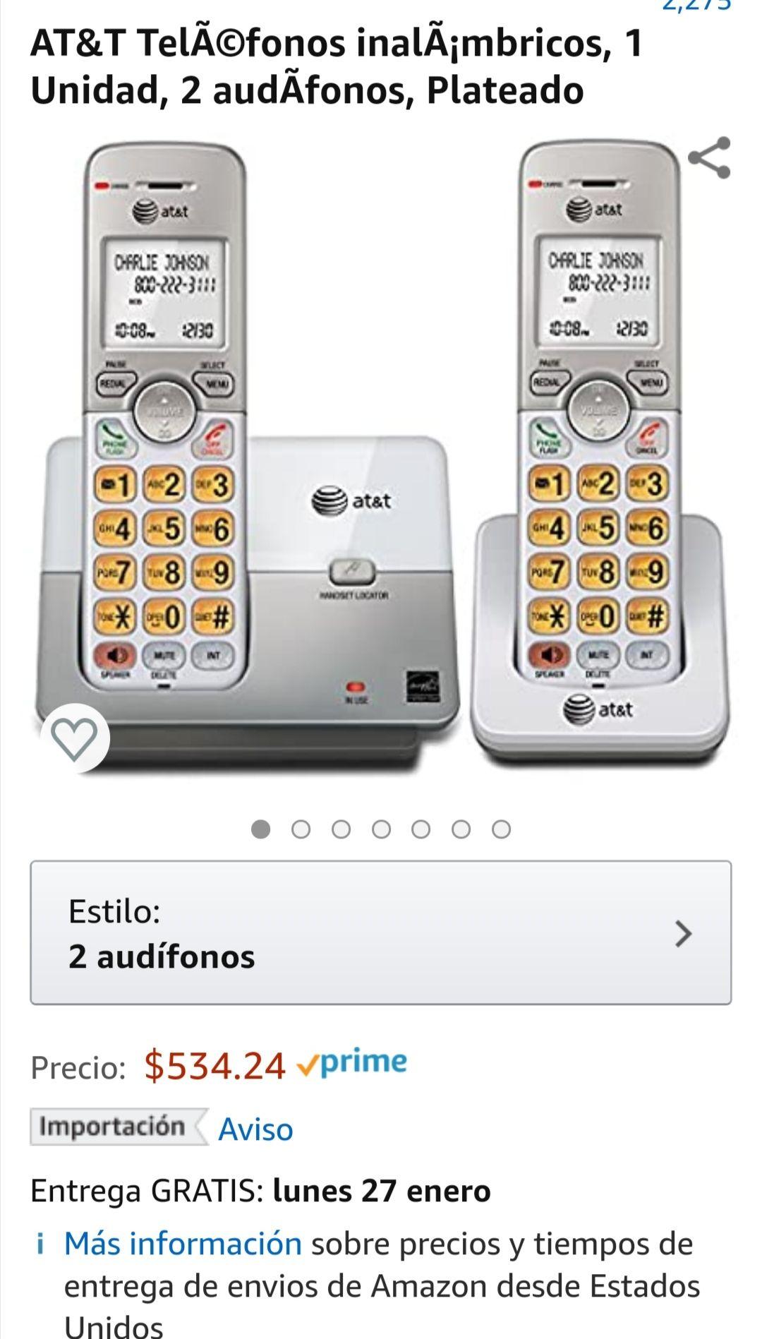 Amazon: Par de teléfonos inalámbricos AT&T.