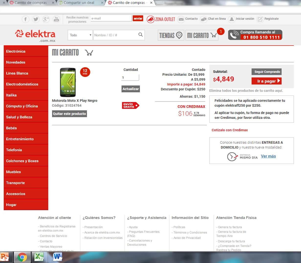Elektra en línea: Moto X Play a $,4849 con cupón