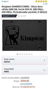 Amazon SSD Kingston 480gb