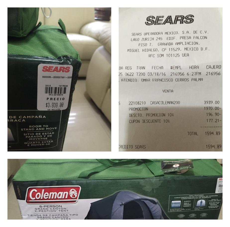 Sears Cosmopol Coacalco: Casa de Campaña Coleman a $1,970