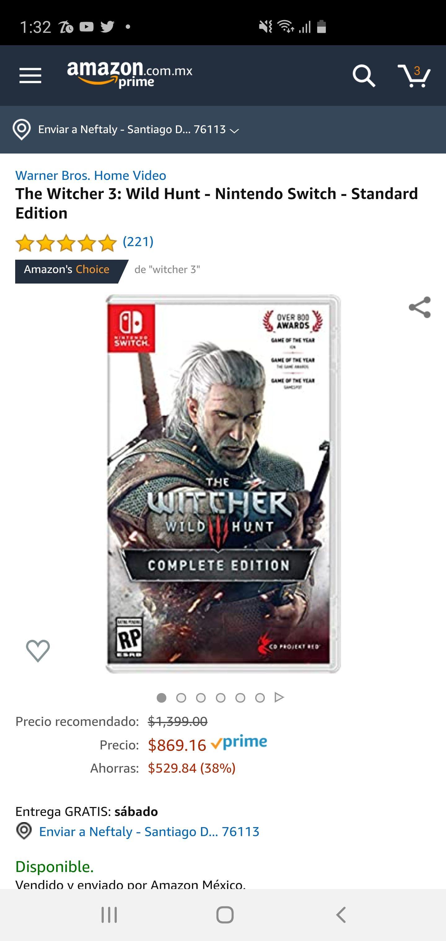 Amazon: The Witcher 3 Wild Hunt - Nintendo Switch - Standard Edition
