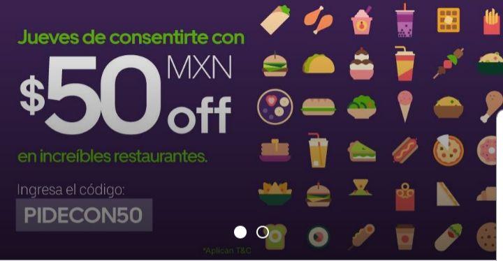 Uber eats: $50 de descuento en pedidos de mínimo $150