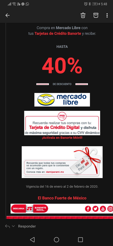 Hasta 40% de descuento pagando con Banorte digital en Mercado Libre