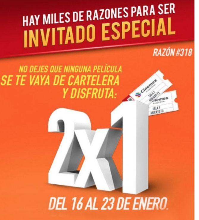 2x1 cinemex del 16 al 23 de enero en salas Tradicional o Premium