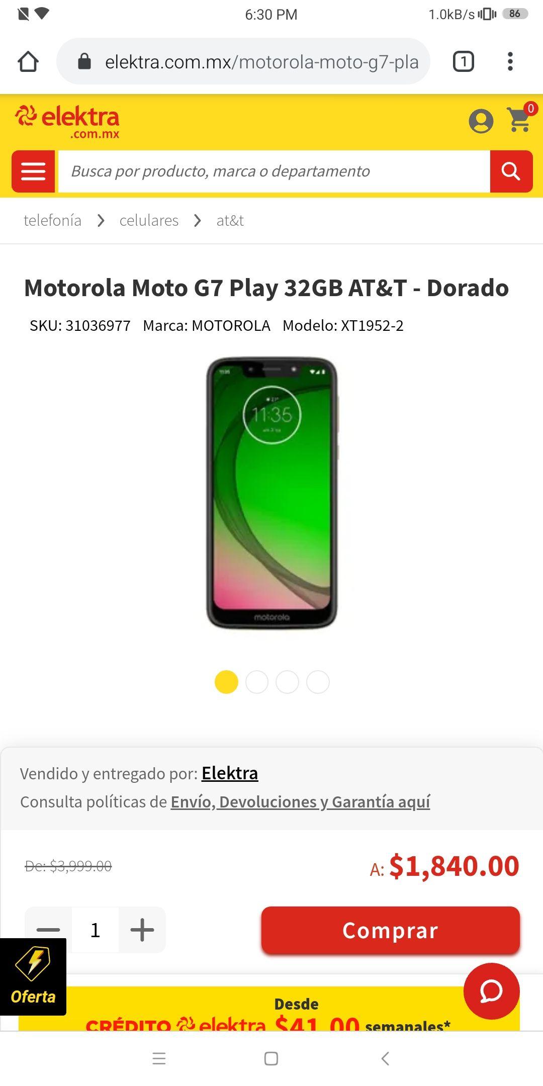 Elektra: Moto G7 Play, Versión 2/32 - Color Dorado, AT&T