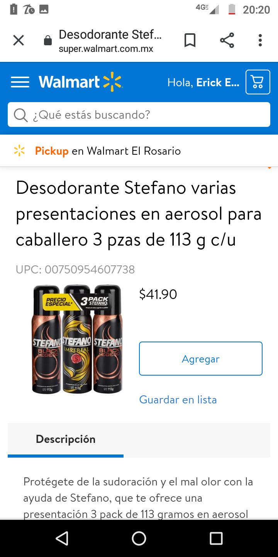 Walmart Super: 3 desodorantes Stefano por 41.90