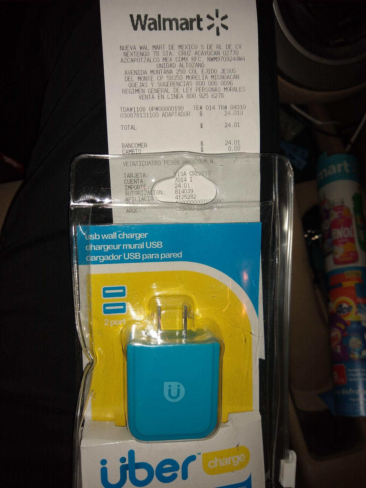 Walmart: Cargador 2.4 Ampers doblé