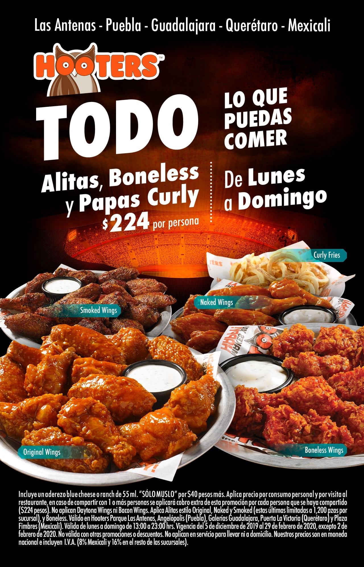 Hooters: todas las alitas, boneless y papás cruly que puedas comer!