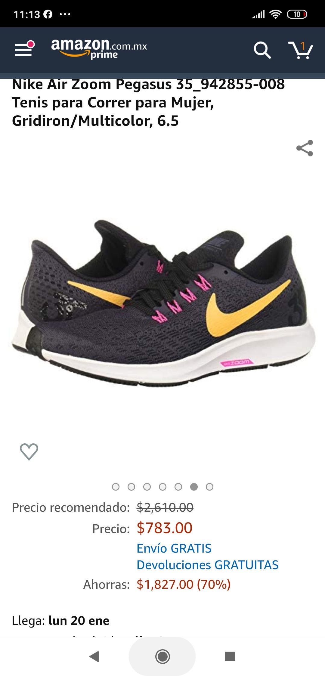 Amazon: Tenis Nike Pegasus 6.5 US para dama