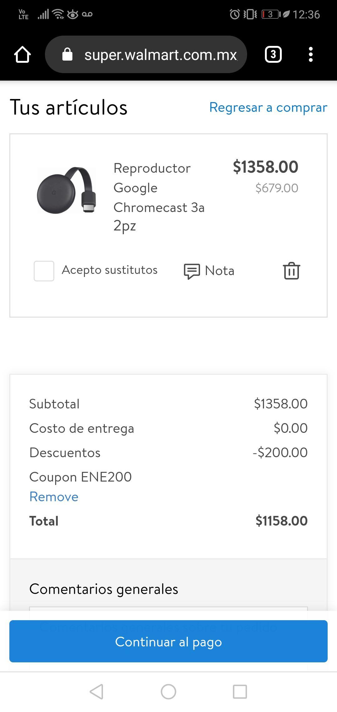Walmart: 2 chromecast (comprando 2)