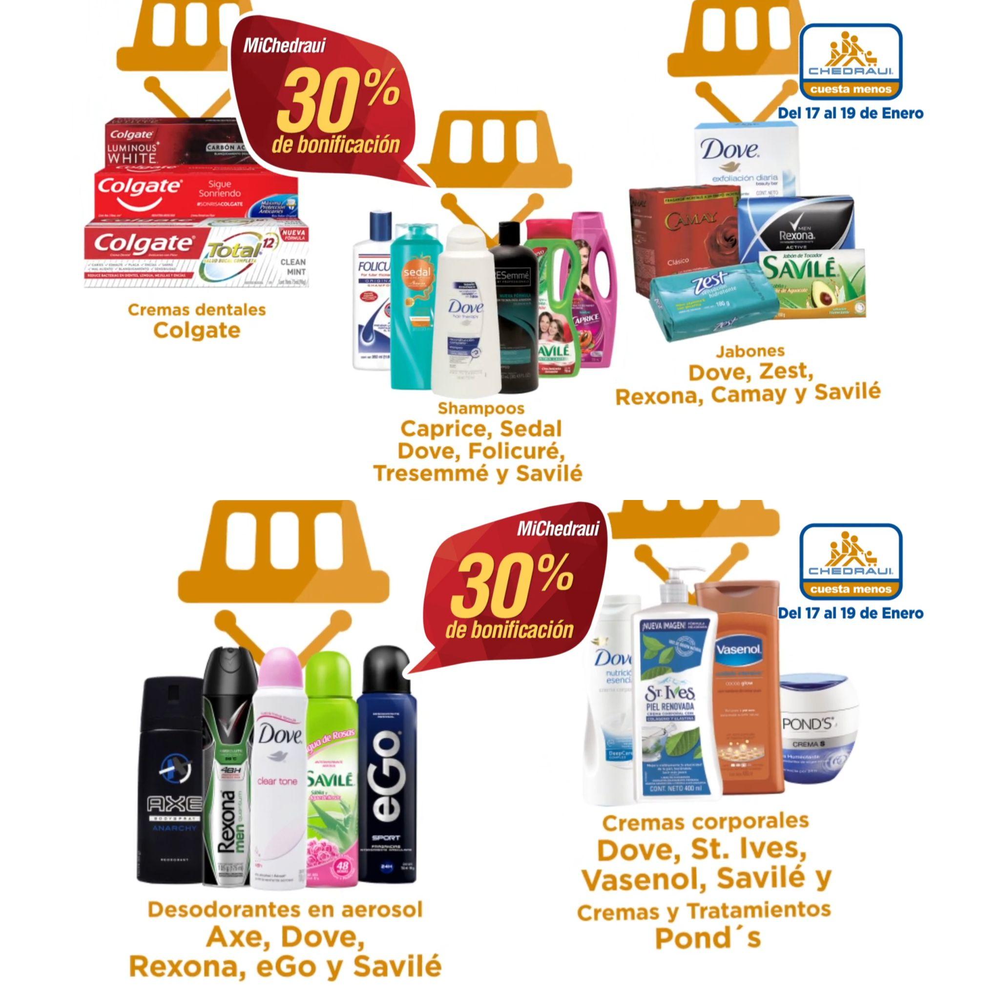 Chedraui: 30% de descuento en Desodorantes, Shampoos, Jabones, Cremas Dentales y mas