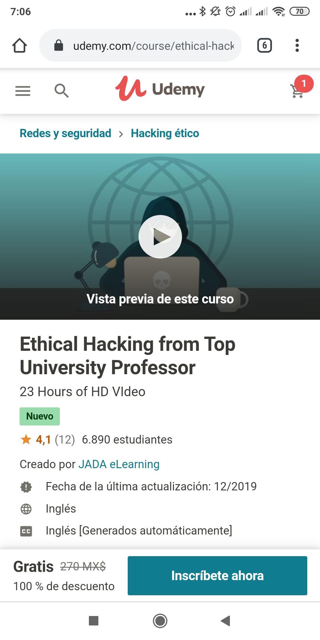 Udemy; Curso de hacking ético gratis