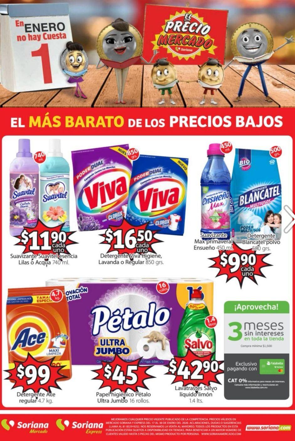 Soriana Mercado y Express: Folleto de Ofertas Quincenal del Viernes 17 al Jueves 30 de Enero