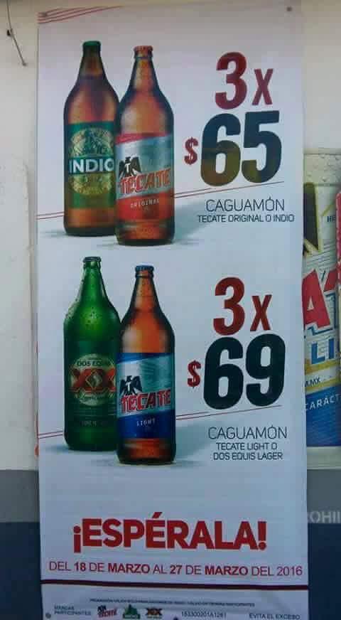 Deposito Indio: Caguamon 3 x $65 y 3 x $69