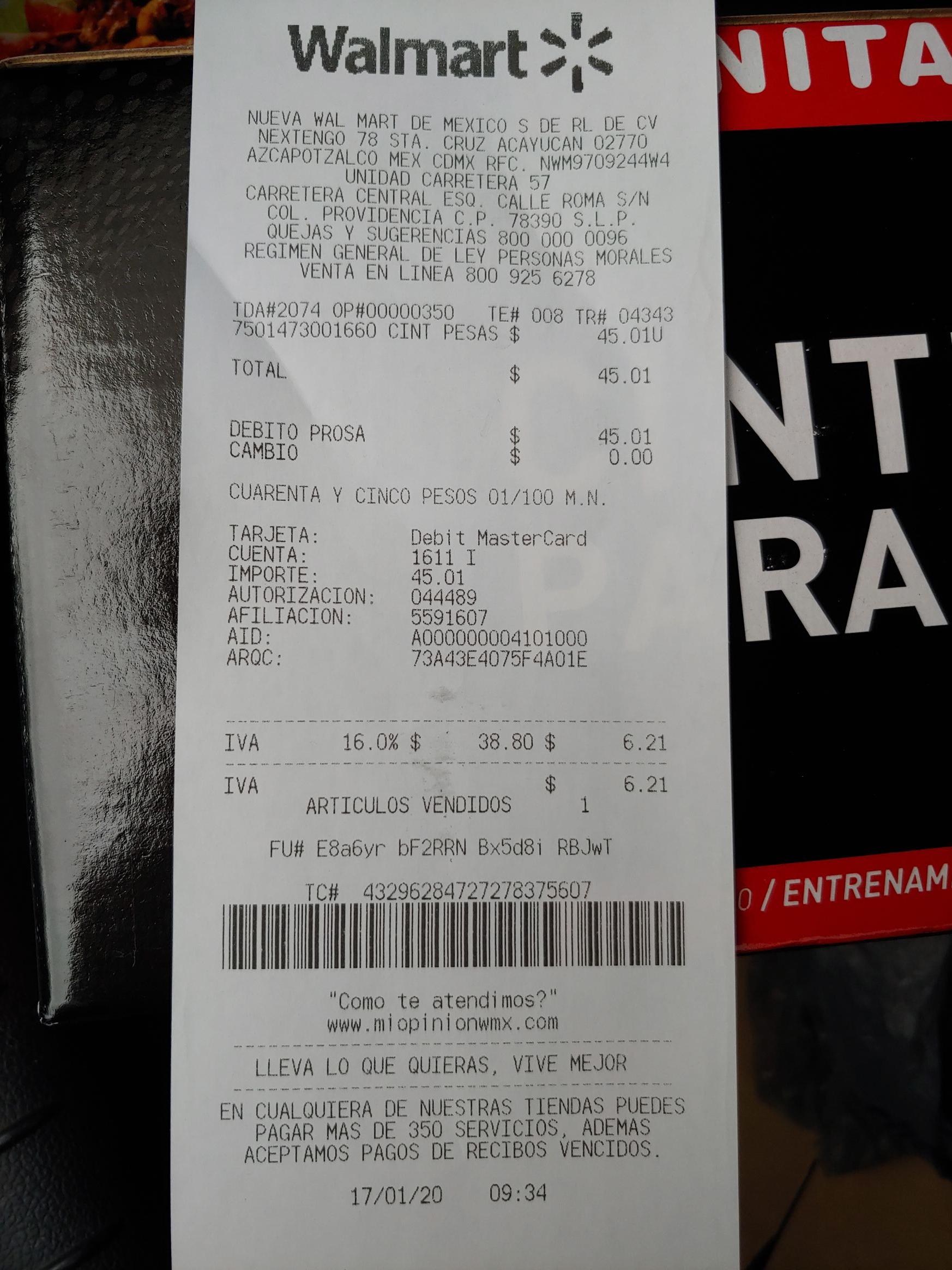 Walmart: Cinturón para pesas liquidación.