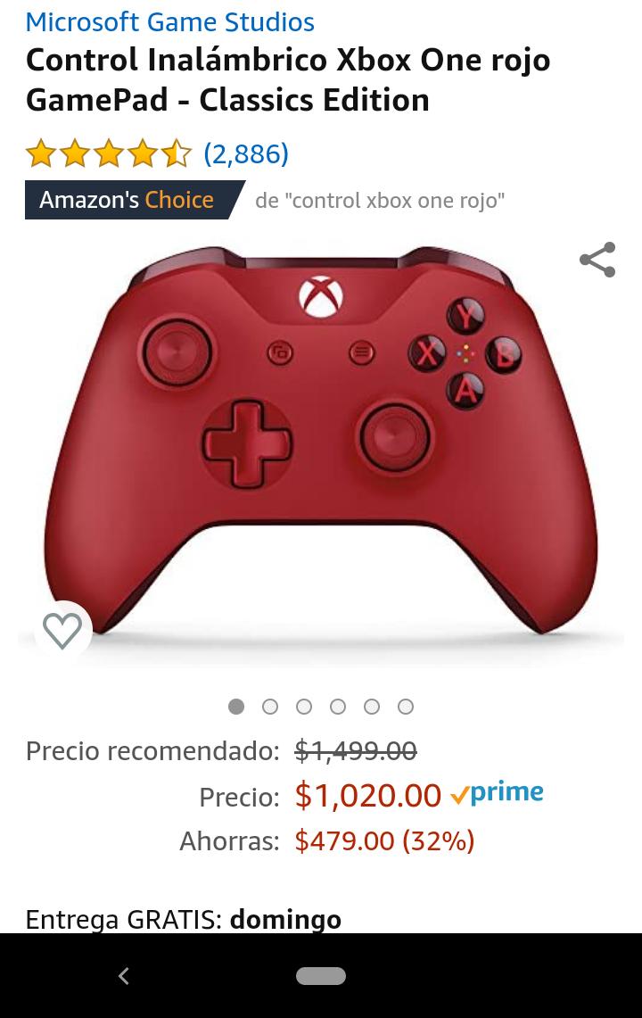 Amazon: Control Xbox one rojo