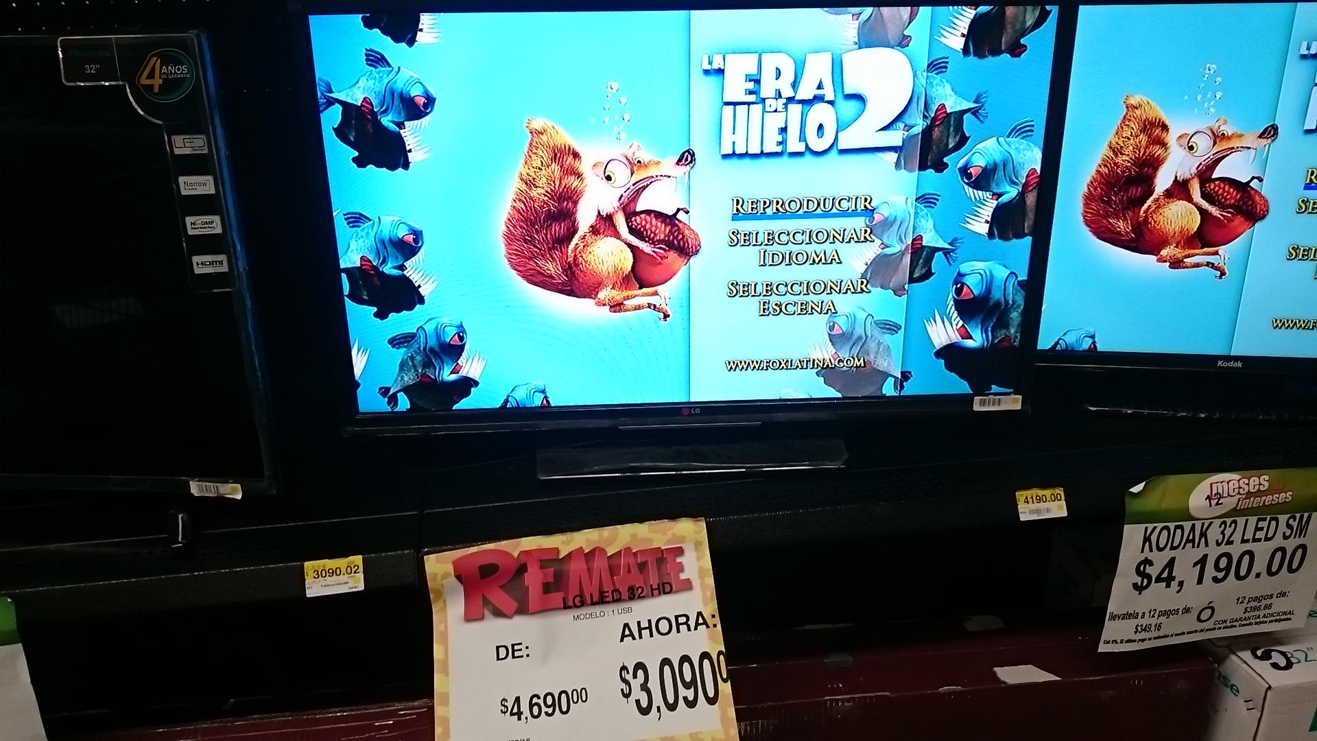 "Bodega Aurrerá: pantalla LG 32"" a $3,090.02"