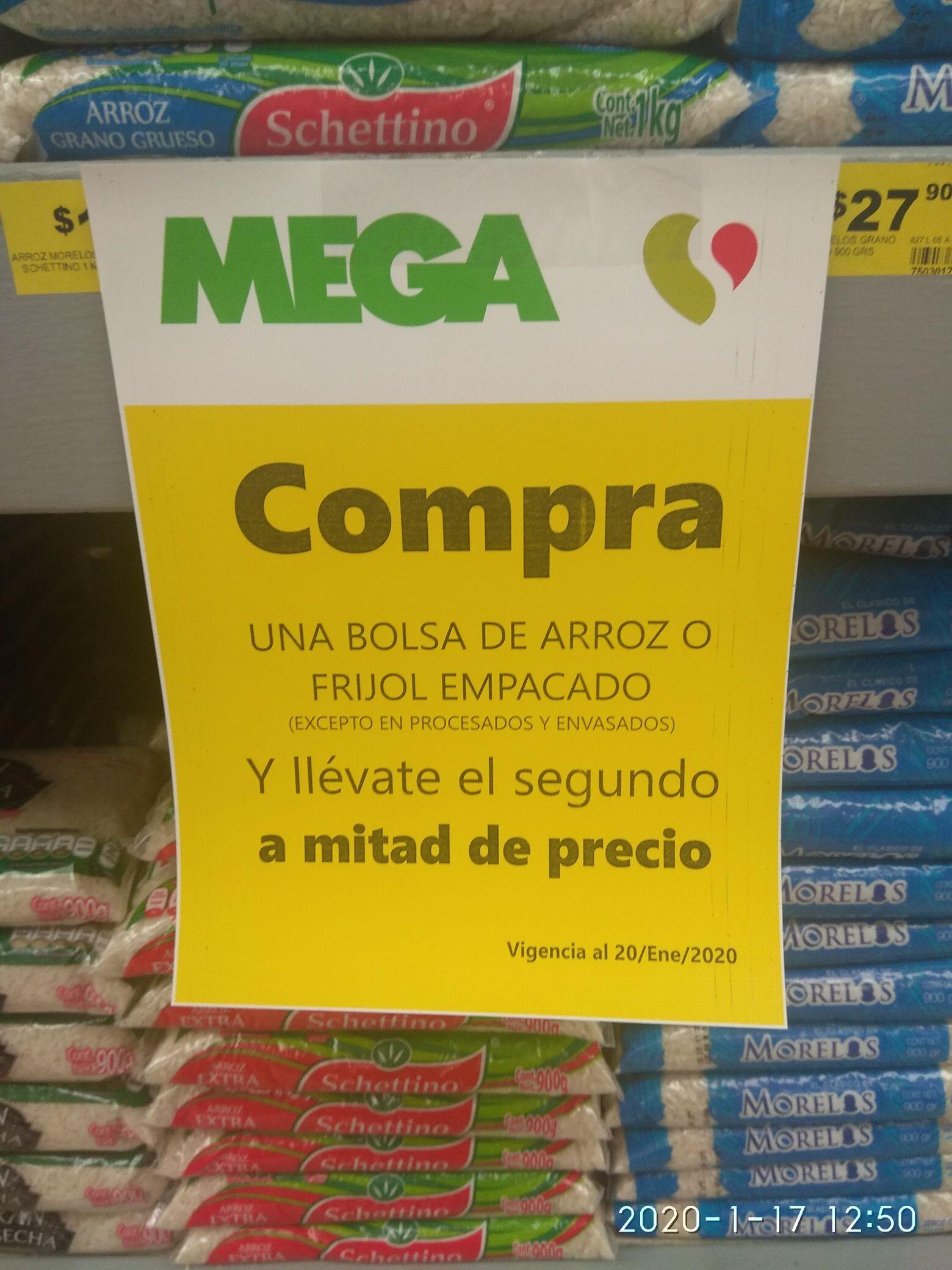 Soriana bolsa arroz o frijol empacado Segundo a mitad de precio