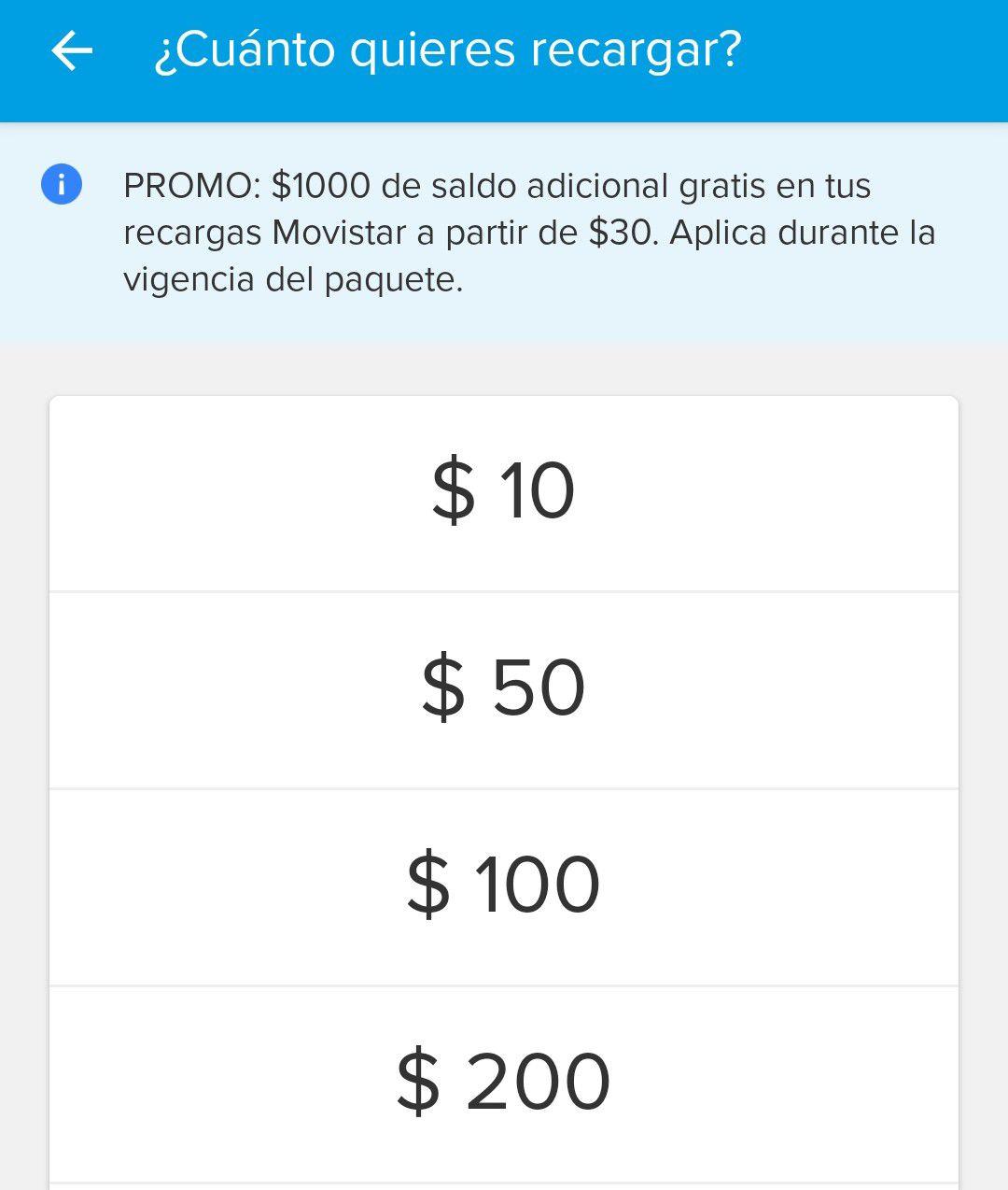 Mercad Pago: Movistar: Recarga $30 y recibe $1000 de regalo (usuarios seleccionados)