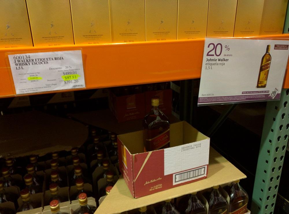 Costco: Jhonny Walker Red Label 1.5 litros de $489 a $391.20 y más