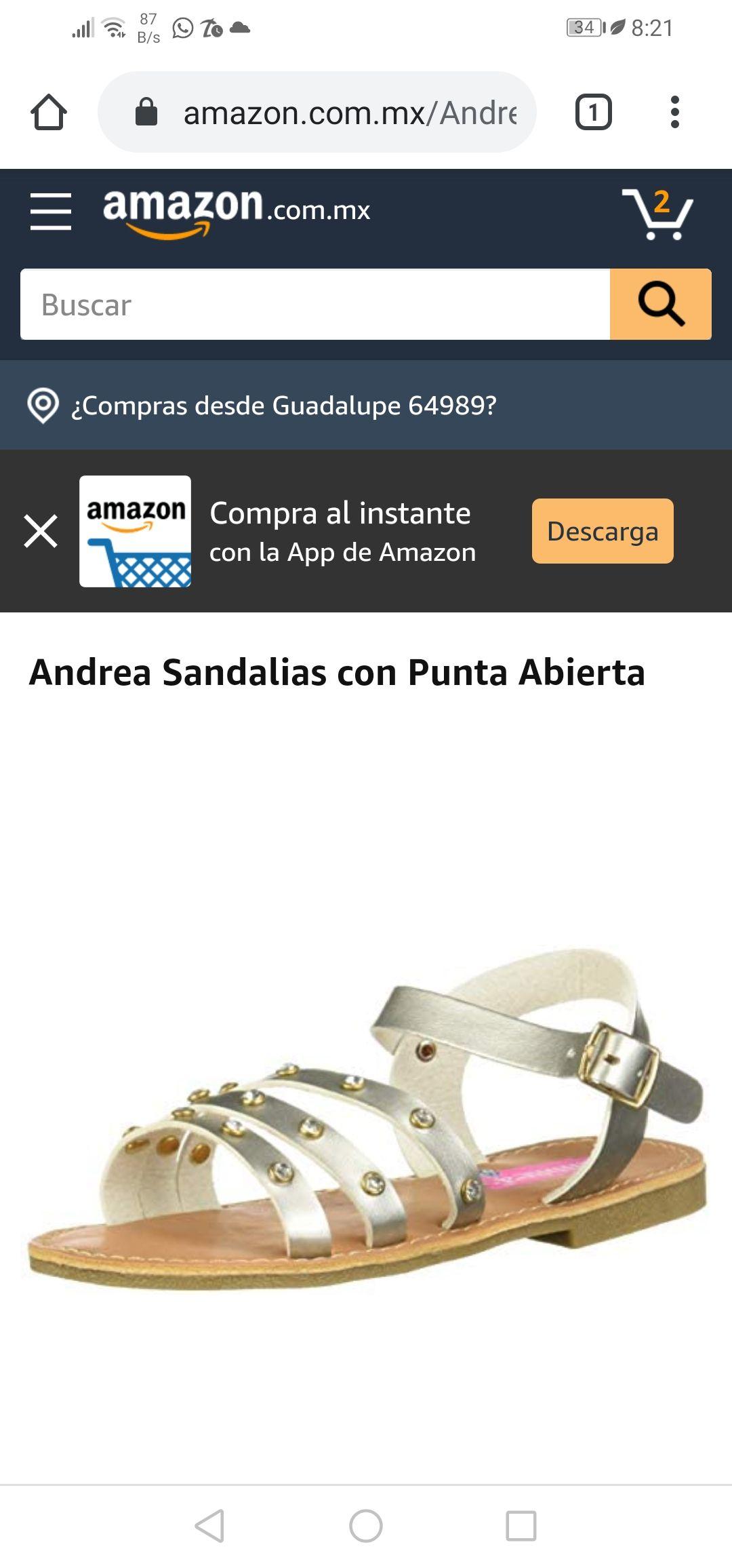 Amazon: Andrea Sandalias con Punta Abierta (SOLO EN 19 CM)