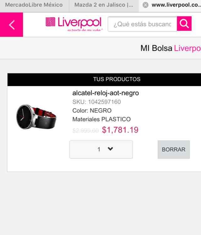 Liverpool en línea: Alcatel One Watch a $1,781.19 con cupón