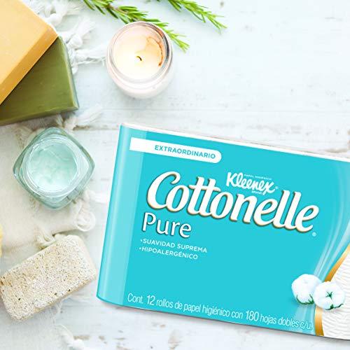 Amazon: Kleenex Cottonelle Pure, Papel Higiénico, 12 Piezas Con 180 Hojas C/U
