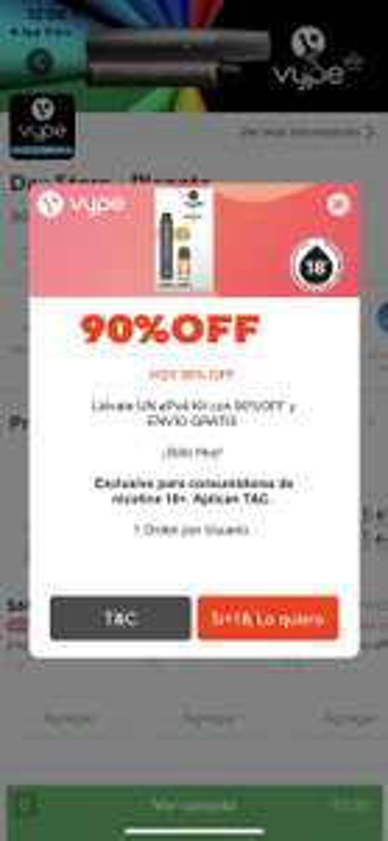 Rappi: Vype Kit ePod 90% y envío gratis