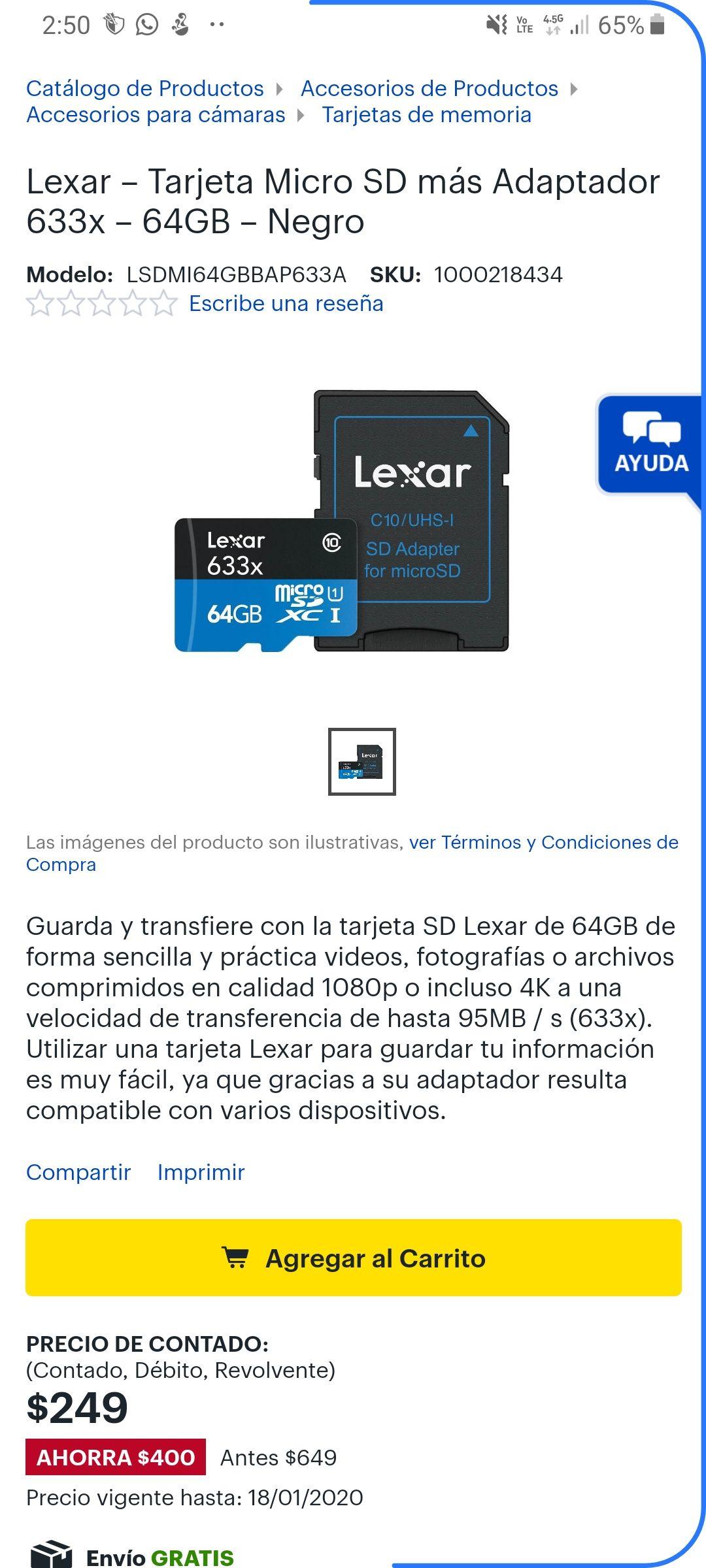 Best Buy: Lexar – Tarjeta Micro SD más Adaptador 633x – 64GB – Negro