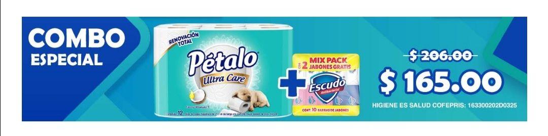 Amazon: Pétalo Ultra Care Papel Higiénico, 240 Hojas Dobles, Paquete de 12 Piezas + Escudo Jabón En Barra, 10 Piezas (Combo especial)
