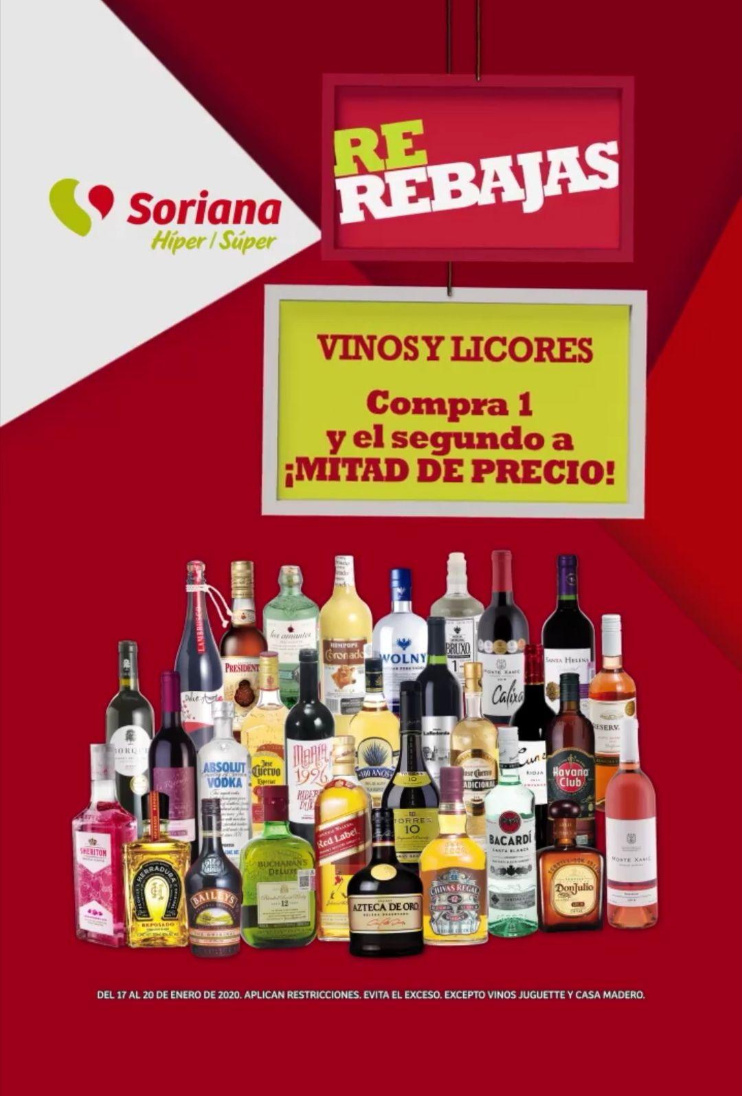 Soriana Híper y Súper: 2 x 1½ en todos los vinos y licores