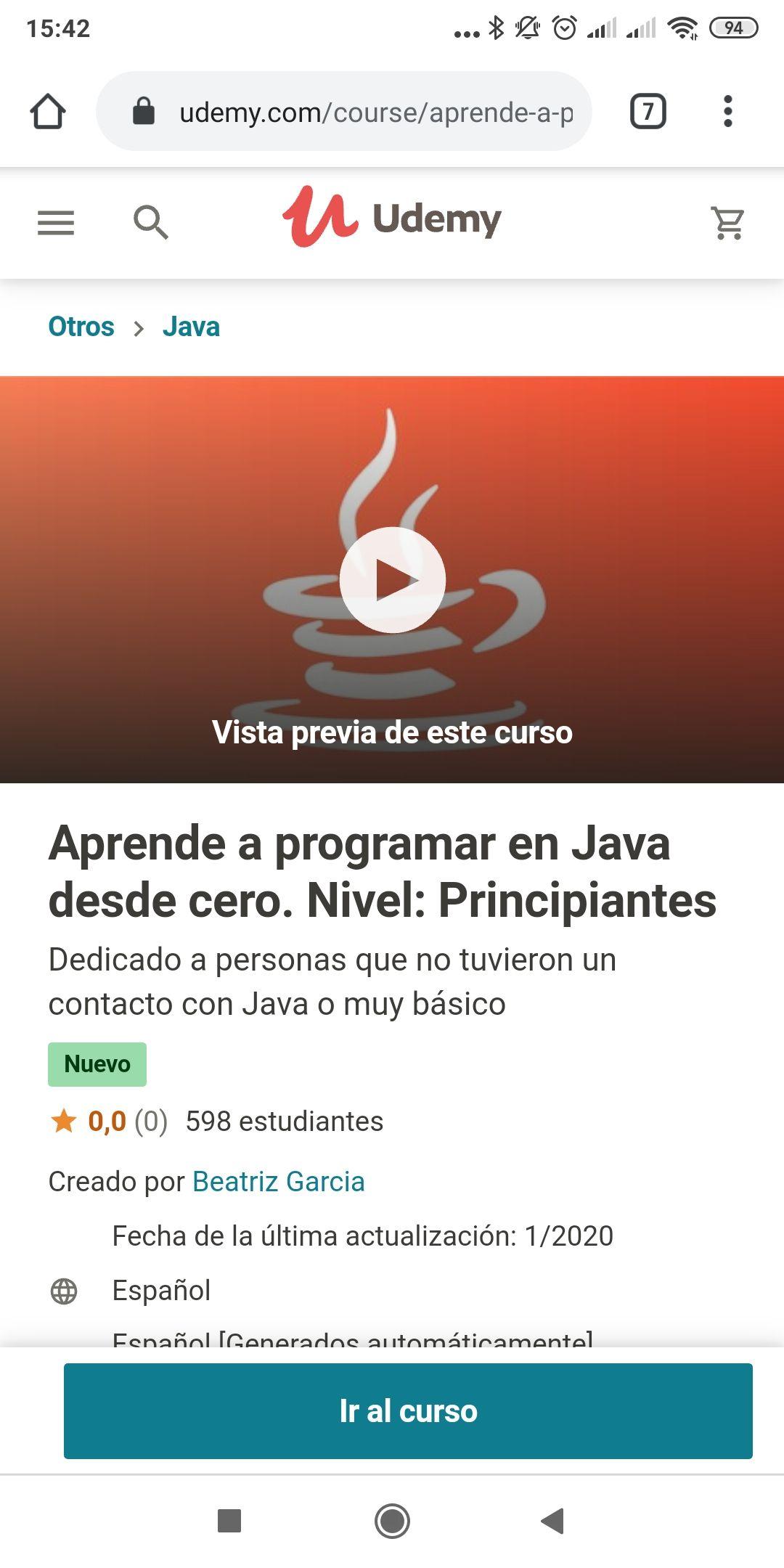 Udemy: Curso Aprende a programar en Java desde cero gratis