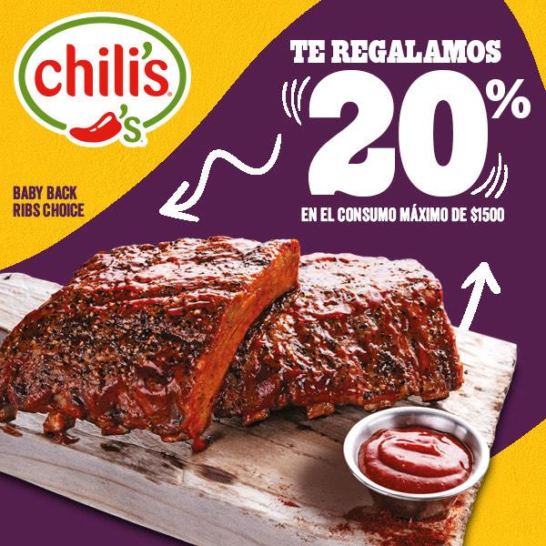 Chili's: vuelve el descuento de 20% sin mínimo de compra