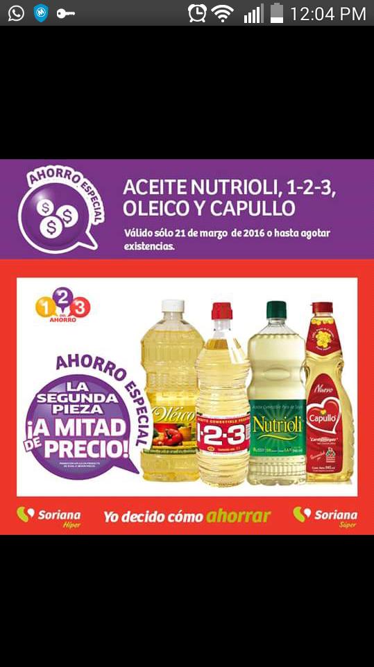 Soriana: Compra un aceite y el 2do a mitad de precio, tambien milanesa el kg 79.90