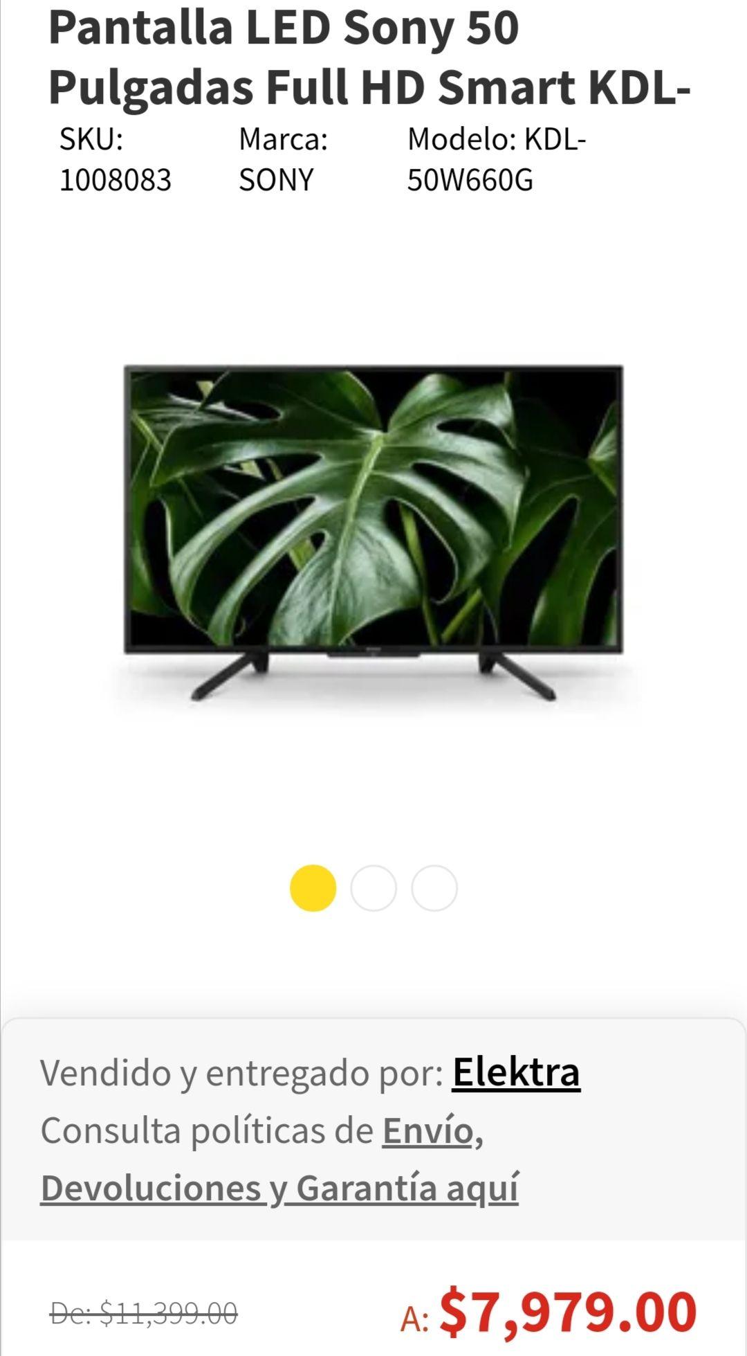 Elektra en línea: Pantalla LED Sony 50 Pulgadas Full HD Smart KDL-50W660G