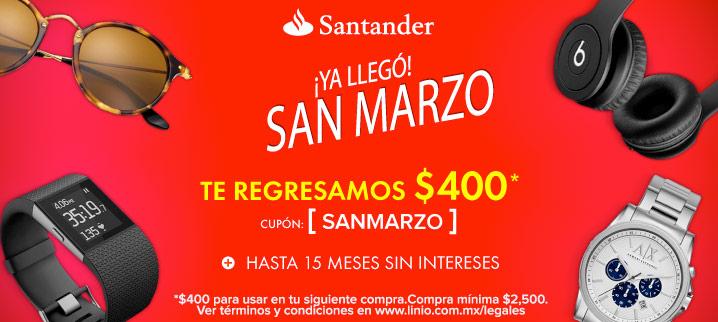 Linio: y Santander te regresamos $400 en tu segunda compra + 15 meses sin intereses