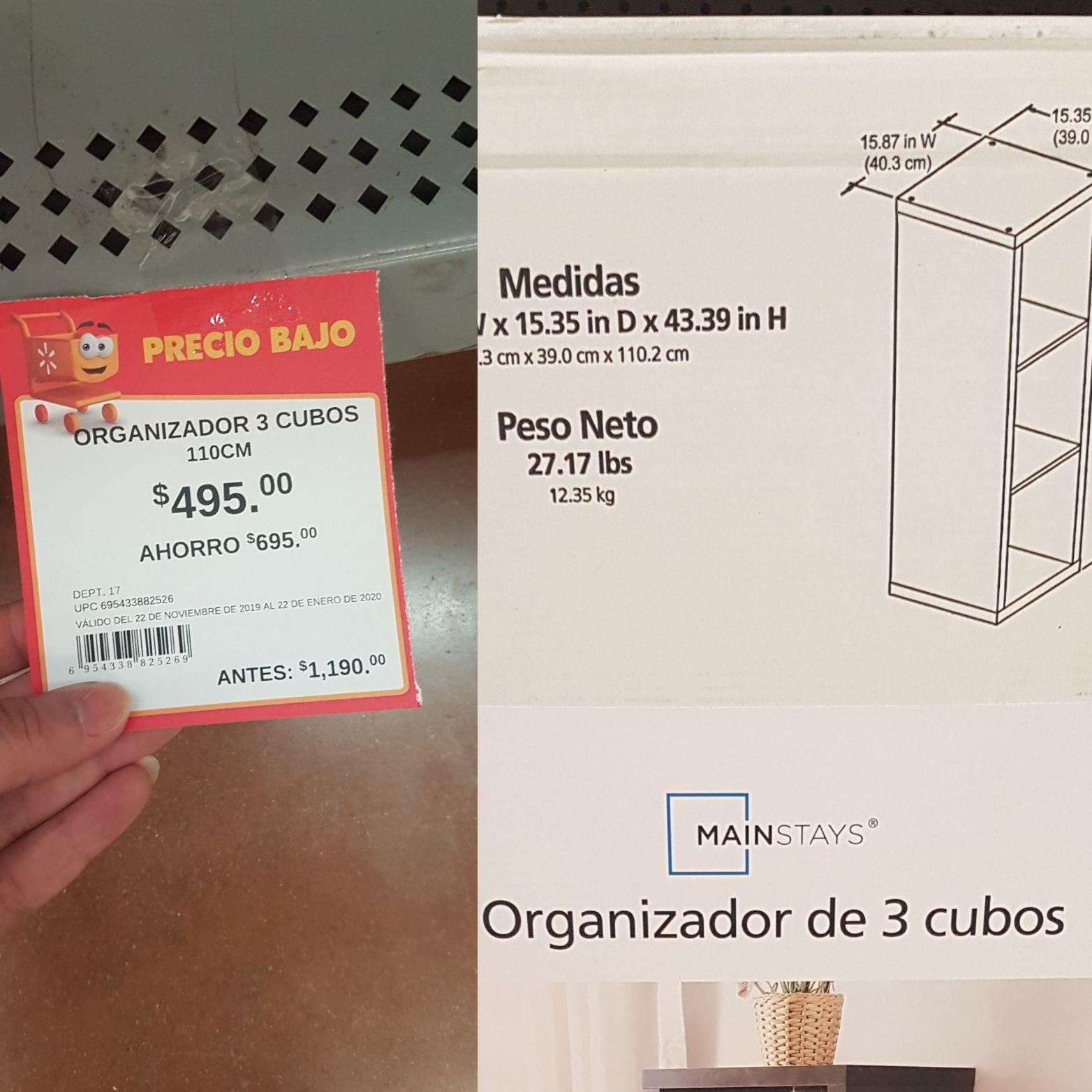 Walmart: Organizador de 3 cubos en $495 OFERTA