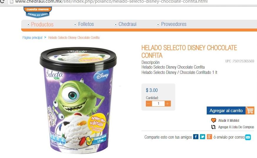 Chedraui Online: Helado Selecto Disney / Chocolate Confitado 1 lt