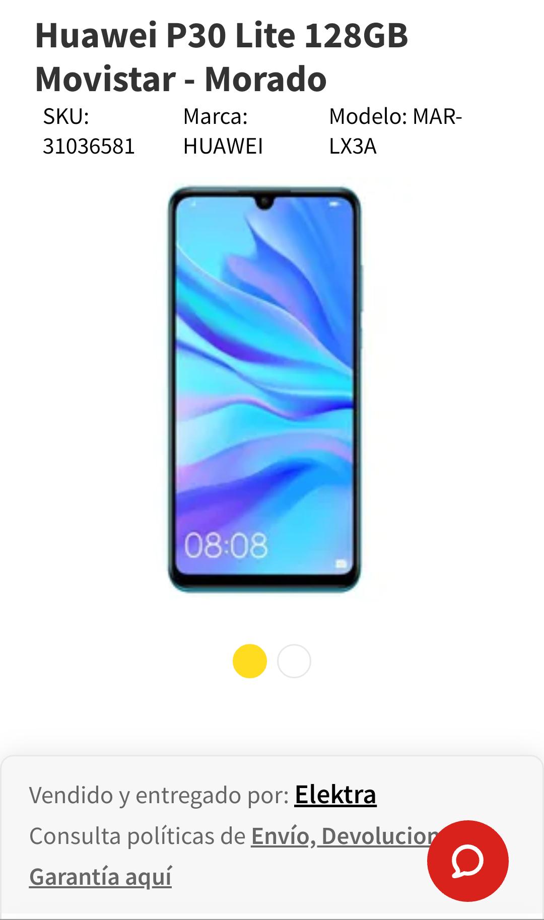 Elektra: Huawei P30 Lite 128Gb (pagando con Banco Azteca)