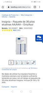 Best buy: pack de 36 pilas insignia (12 AAA y 24 AA)