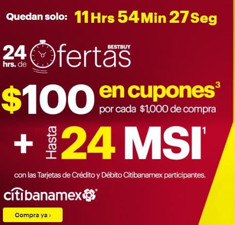 Best Buy Citi Banamex de $100 en cupones por cada $1,000 de compra + 24 MSI