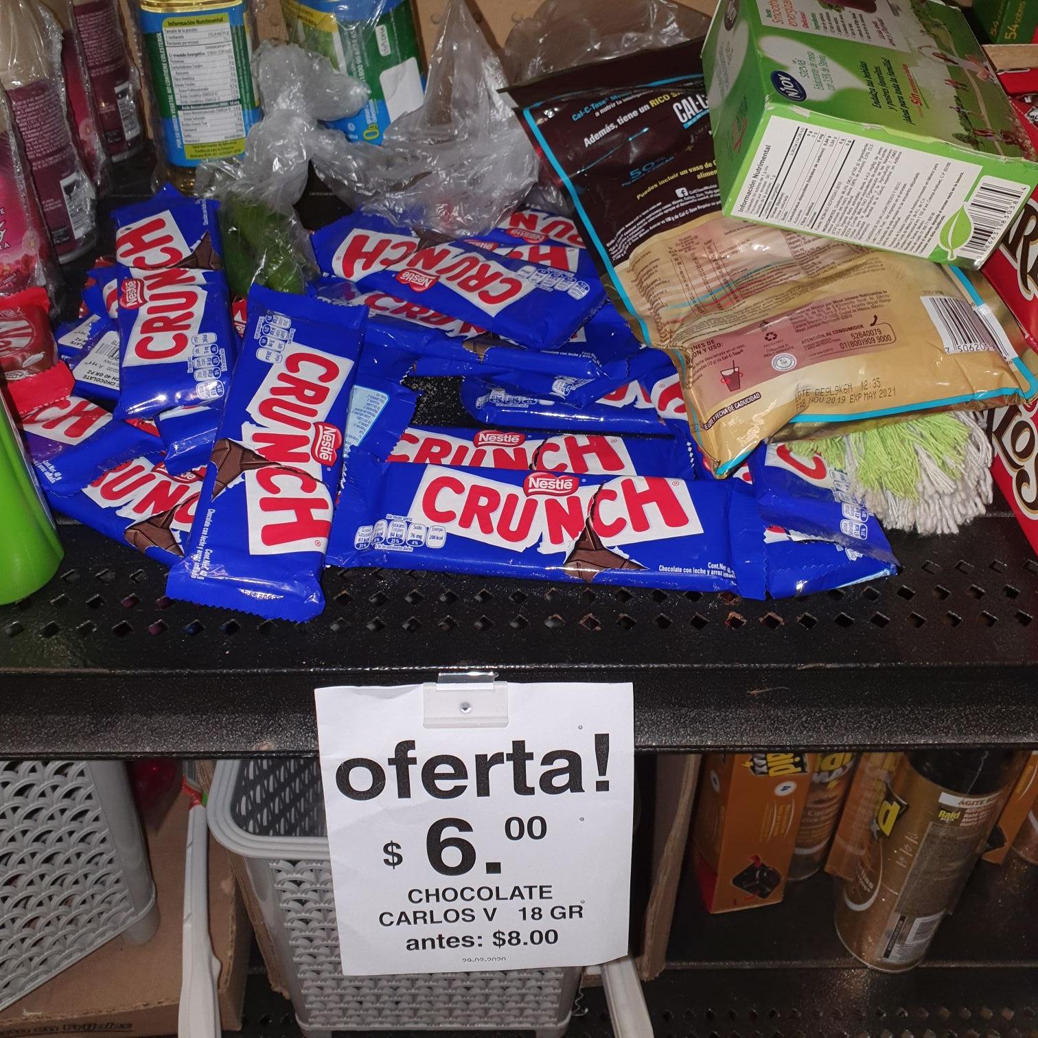 Soriana: Chocolates Crunch y Carlos V a $6