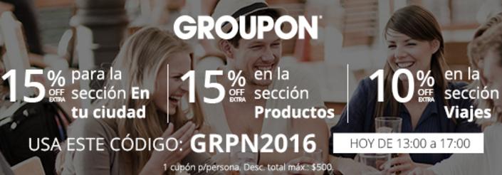 Groupon: cupón de 15% de descuento