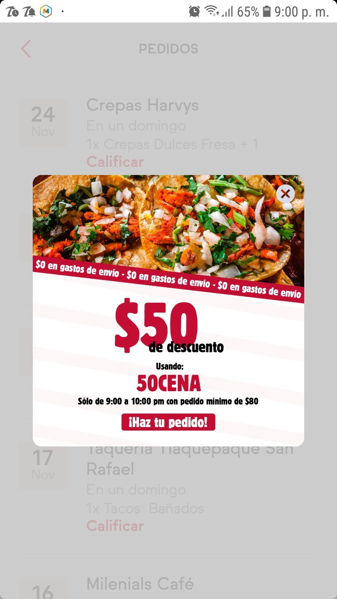 SinDelantal: Descuento -$50