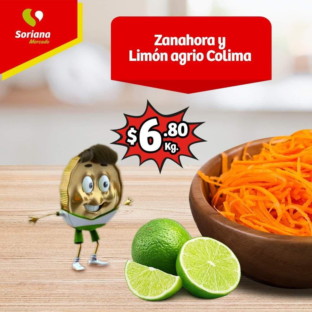 Soriana Mercado y Express: Frescos del Martes 21 al Jueves 23 Enero: Zanahoria $6.80 kg... Limón Agrio Colima $6.80 kg.