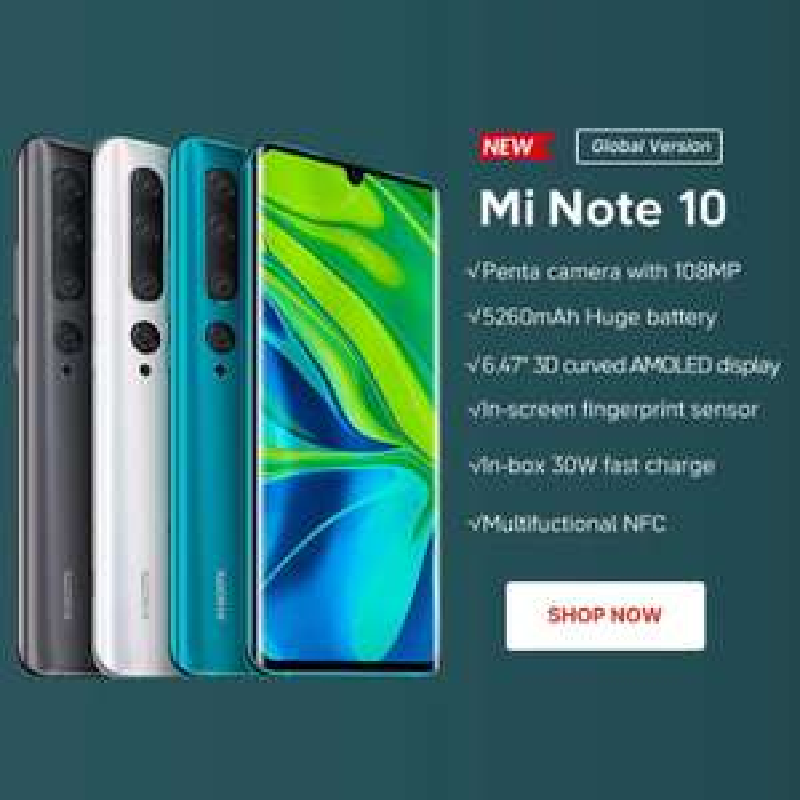 AliExpress Xiaomi Mi Note 10 Pro 8/256 gb 108 Megapixeles