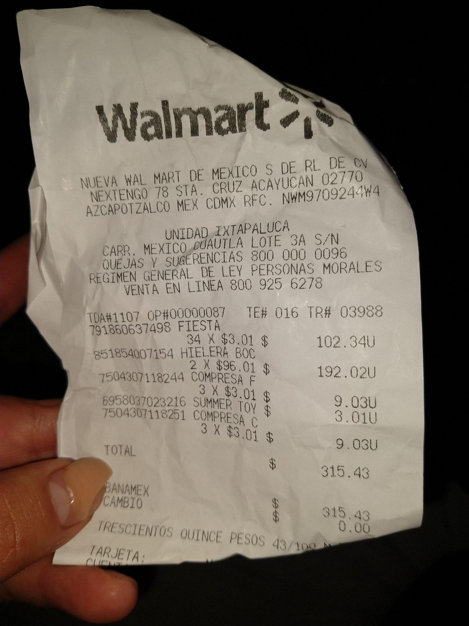 Walmart Prichos Compresas frías y calientes
