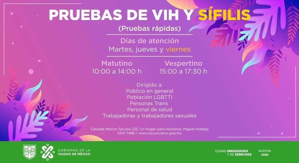 INJUVE: Pruebas de VIH y Sífilis GRATIS Todos los martes, jueves y viernes, para público en general.