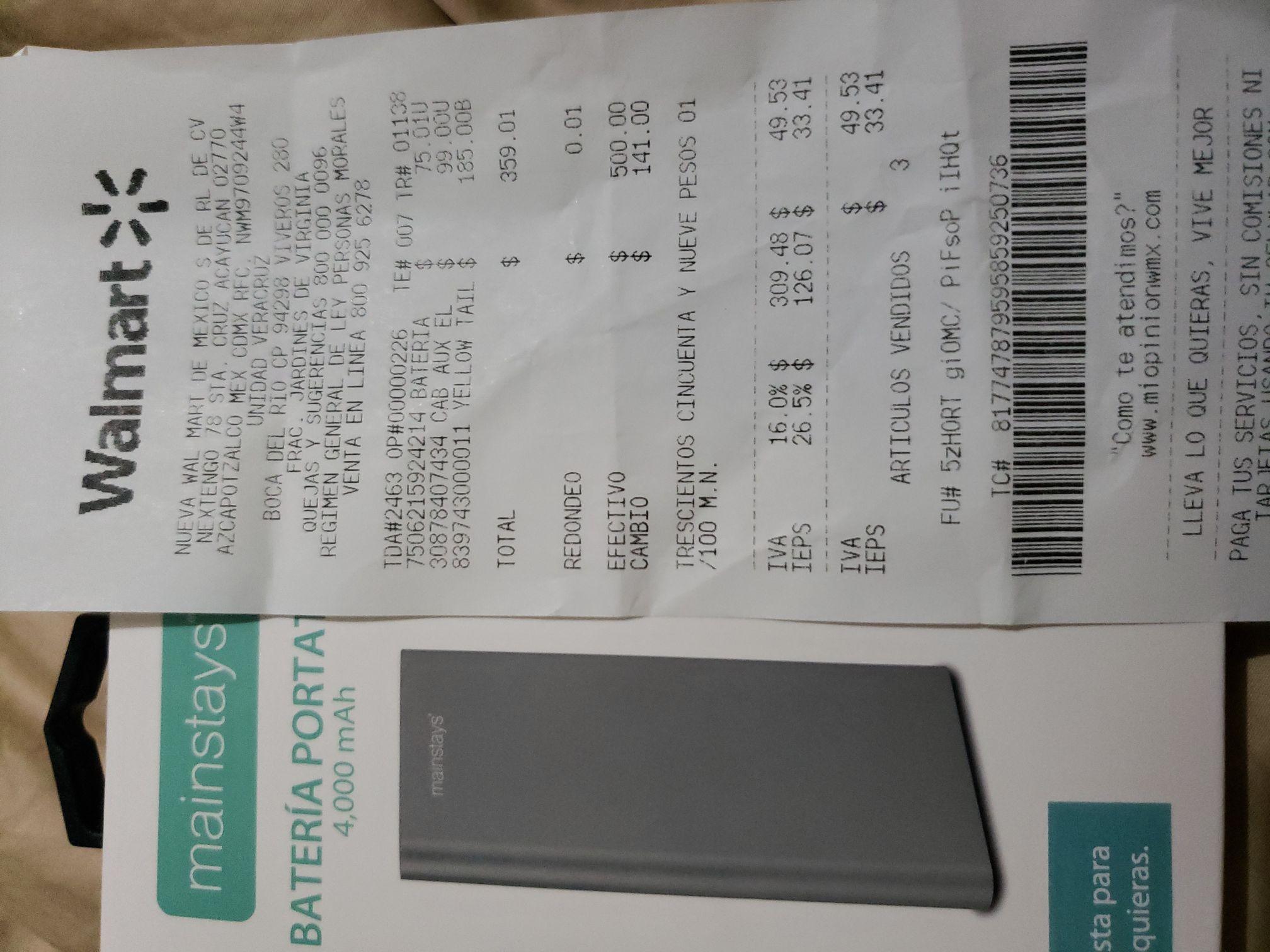 Walmart: Bateria da 4000mha en liquidacion en $75